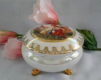 Czechoslovakia Victoria Porcelain Footed Trinket Jewelry Box