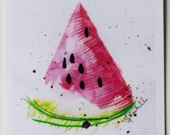 Watercolour Card, Blank Card, Square Card, Card for Her, Card for Friend, Watermelon Card, Summer Card, Stationary, Art Print