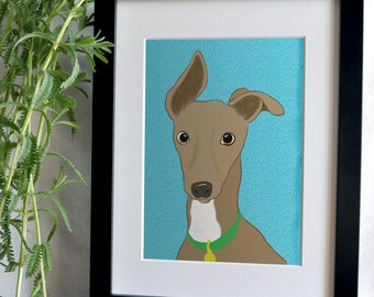 Print - Dog - Greyhound funny ears