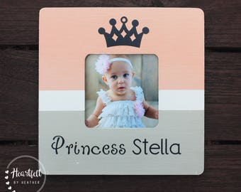 Personalized Princess Picture Frame - Custom Princess Baby Shower Gift - Princess First Birthday Gift - Expecting Mom Gift- Princess Nursery