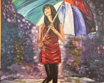 Girl and rainbow umbrella , rain