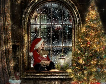 Christmas digital backdrop, digital background for photography, with Christmas Tree, window, candle, gifts, snow in town. Instant download.