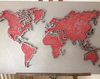 Items similar to world map string art on etsy world map in string art string art world map sciox Gallery