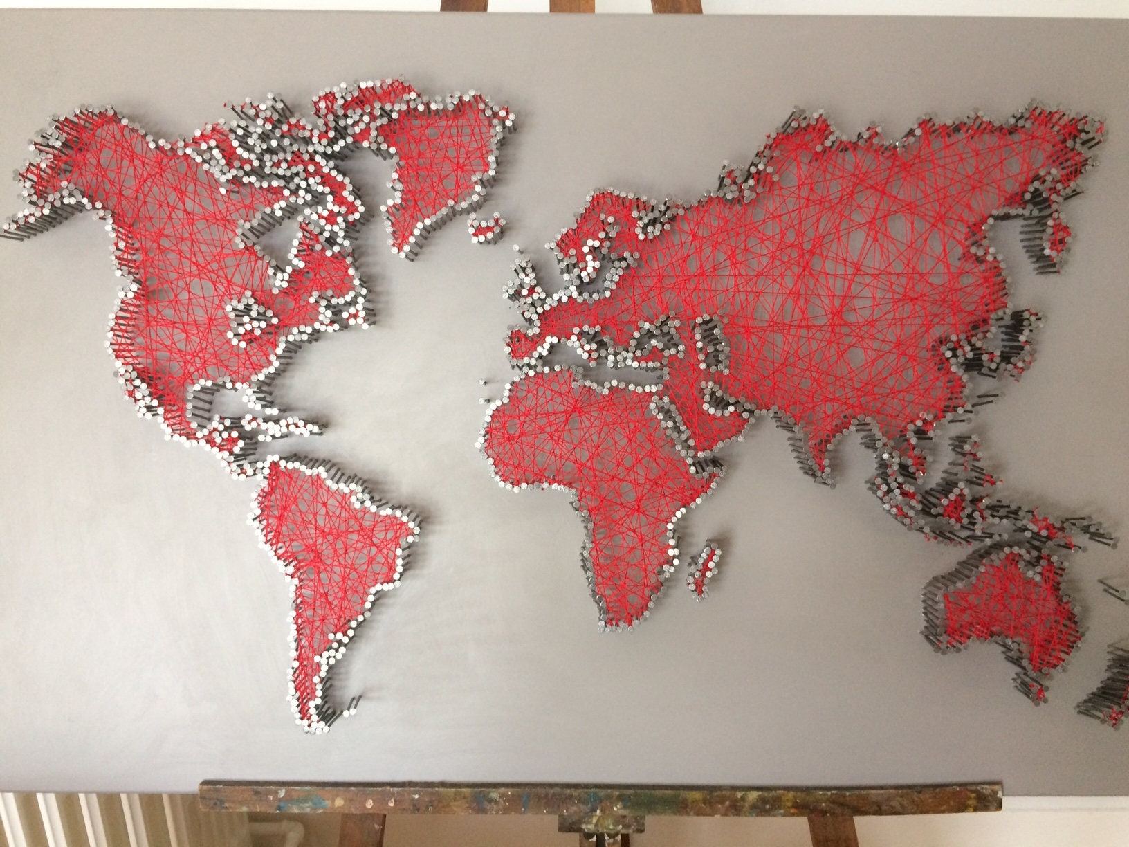 World map string art pictures to pin on pinterest thepinsta mappemonde en string art gumiabroncs Gallery