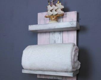 Pink Bathroom Shelf – Distressed White Wood Above Toilet Shelves – Chunky Reclaimed Wood Shelf – Real Wood Wall Shelves – Small Open Shelf