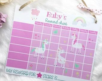 Dry wipe reward chart, wall hanging, chore chart, behaviour help, unicorn theme, rainbows, personalised with name