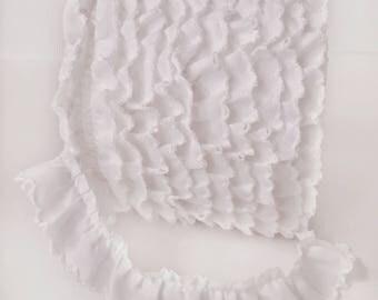 White Ruffle with Crochet Edge - White Trim - White Lace - White Ribbon - White Picot Egde Ruffle - White Crochet Trim - White Decor Trim