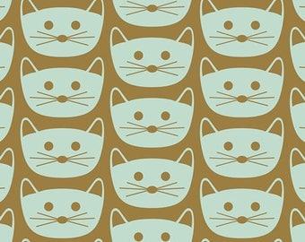 Cat Cotton Fabric - Art Gallery Fabric - Cat Nap Mint - Blush - Dana Willard - Green Kitty Fabric - Cat Christmas Fabric - by the Yard