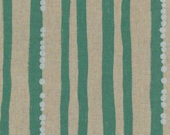 Japanese Cotton Linen Fabric - Kokka Echino 2018 Stripe in Mint - Light Weight Canvas Fabric - Half Yard (about 50cm) Pre Cut