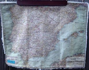 SPAIN & PORTUGAL map blanket - baby minky security blankie - small travel blanky, lovie, lovey, woobie - 14.5 by 19.5 inches