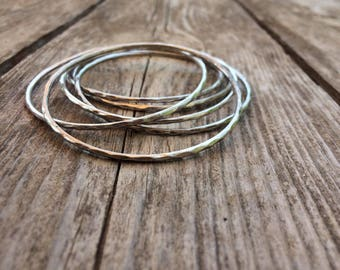 Thin bracelet, Womens Thin Bracelet, silver thin bangle bracelet, silver thin bracelet, silver bangle,  minimal bracelet, Hammered Bracelet