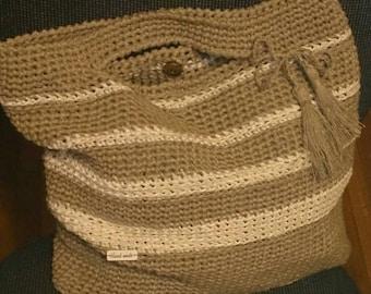 LINEN crocheted HANDBAG