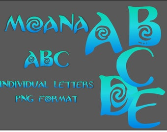 Moana  alphabet clippart  PNG files Blue-green granadient