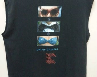 90's Dream Theater vintage T - shirts Cut off sleeve 97/98 Touring into Infinity XL Size Made in Usa