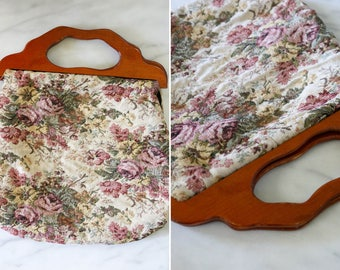 Tapestry Tote Bag with Wooden Handles // Floral Carpet Bag