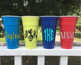 Personalized Name Or Monogram 32oz Solo Cup/4th Of July Party Cup/Bachelorette Party Gift/Bridesmaid Gift