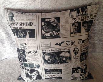 Handmade Zombie Newspaper 16 Inch Cushion Cover