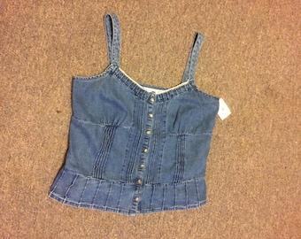 Blue jean crop top