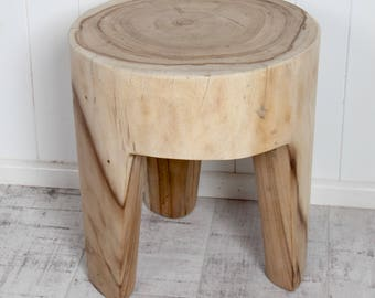 Solid Carved Suar Wood Stool