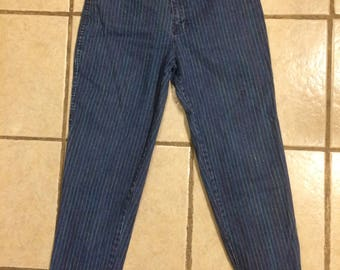VINTAGE high waisted Gitano rainbow pinstripe jeans/size s-m