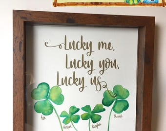 Customizable hand watercolor painted Shadowbox Frame. Irish blessings clovers personalized family gift