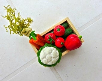Tray of vegetables/Dollhouse/Miniature food 1:12 scale