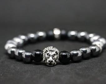 "Series ""HemaLion"" Hematite & Onyx Lion bracelet"