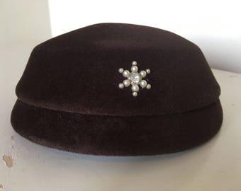 Brown velvet or velveteen 1950s hat with little pearls