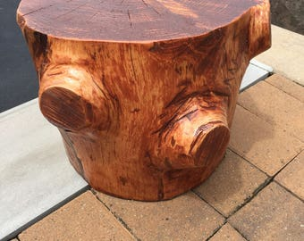 authentic tree stump finished accent table