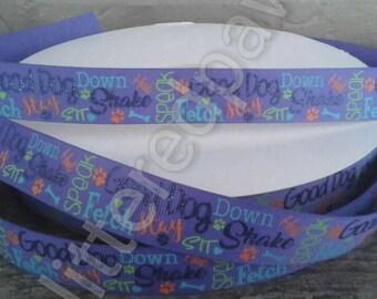 "7/8"" Dog Theme Grosgrain Ribbon"