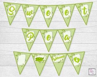 Sweet Pea Baby Shower Printable Banner
