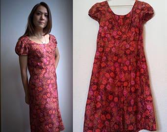 Silk Mod dress, vintage 1960s dress, pink and red, dreamy 60s dress, Small / Medium