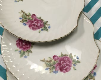 Set of Four Vintage Snack Plates, Vintage China, Vintage Plates