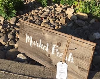 """Wall Decor l Market Fresh l Wood Signs l Custom Signs l 8"""" x 18"""" l Home Decor l Kitchen Decor"""
