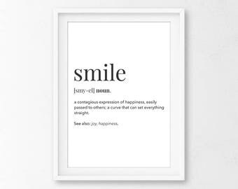 Smile Definition, Definition Posters, Smile Nursery Art, Definition Print, Smile Wall Art, Smile Art Print, Smile Nursery Decor, Nursery Art
