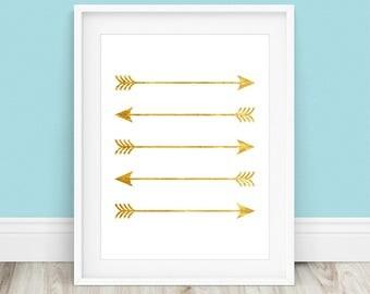 Gold Arrow Art - Gold Arrows Art, Arrow Print, Gold Arrow Print, Gold Wall Art, Arrow Wall Art, Arrow Art, Arrow Printable, Gold Arrows