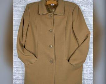 Vtg 70s Mens Blair Tan Wool Coat Sz M