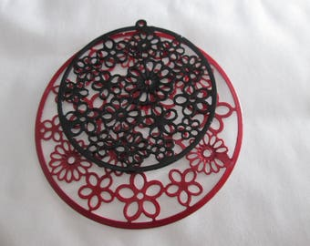 prints 4 /connecteurs round red and black filigree 55 mm and 42 in