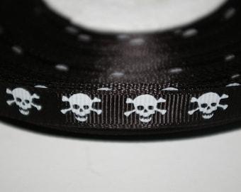 Black skulls 10 mm grosgrain Ribbon sold by the meter