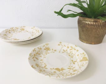 Vintage Golden Meadow Saucers by Sheffield + Set of 4 + Tea Time + Retro Kitchen + Mid Century