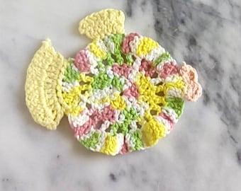 Fish Washcloth, Cotton Washcloth, Cotton Dishcloth, Fish Dishcloth, Crocheted Dishcloth, Crocheted washcloth, Nautical Dishcloth