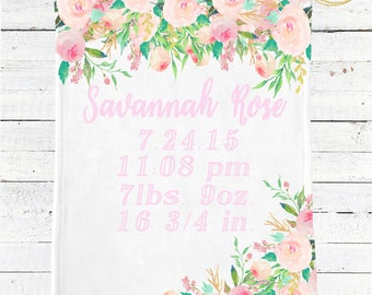 Birth Stats Baby Blanket / Custom Baby Blanket / Baby Shower Gift Girl / Birth Stats Blanket / Floral Baby Blanket / Light Pink Baby Bedding