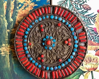 Decorative Brass Disc with Polished Stones