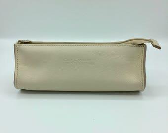 Drop Beige leather clutch