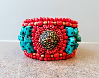 Beaded red and teal cuff bracelet brass medallion bracelet adjustable bracelet one size fits all bracelet India gifts for her
