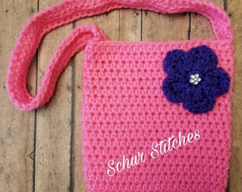 Children's Purse, Cross body Purse, Purse with flower, pretend play purse for kid, small crochet purse, pink purse, play purse for kid, bag