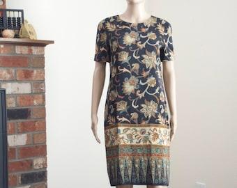 vintage 90s silk paisley dress / Liz Claiborne size 4 sheath dress
