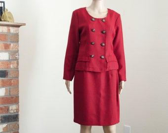 90s houndstooth red skirt suit // vintage 90s skirt set // clueless fitted blazer pencil skirt Medium M size 8