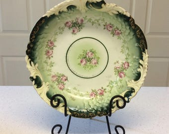 Vintage Green and Pink Floral Design Bowl with Gold Gilted Edges