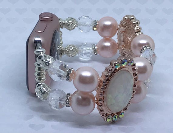 Apple Watch Band, Women Bead Bracelet Watch Band, iWatch Strap, Apple Watch 38mm ONLY, Swarovski Peach Rose Gold Pearls, 6 3/4-7""
